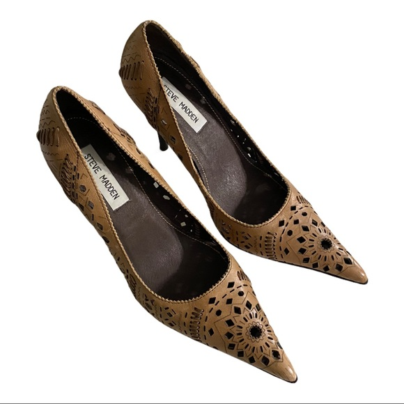 "Steve Madden size 8 leather pattern heels 4"""